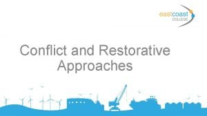 Conflict and Restorative Approaches Aims and objectives Aims