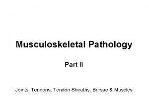 Musculoskeletal Pathology Part II Joints Tendon Sheaths Bursae
