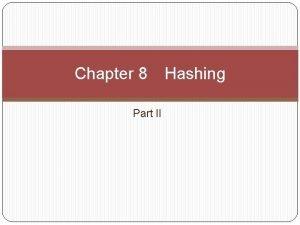 Chapter 8 Part II Hashing Dynamic Hashing Also