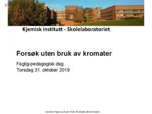Kjemisk institutt Skolelaboratoriet Forsk uten bruk av kromater