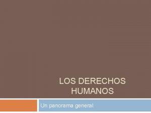 LOS DERECHOS HUMANOS Un panorama general Trminos Derechos