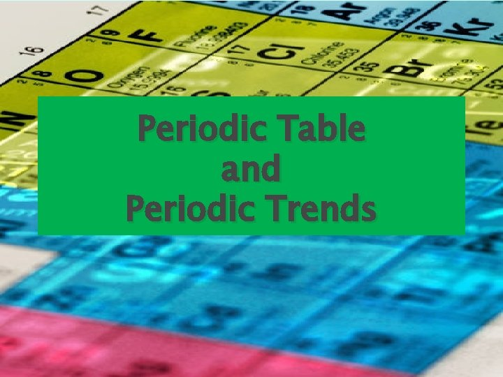 Periodic Table and Periodic Trends Periodic Table of
