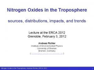 Nitrogen Oxides in the Troposphere sources distributions impacts