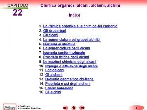 CAPITOLO 22 Chimica organica alcani alcheni alchini Indice