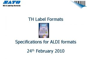 TH Label Formats Specifications for ALDI formats 24