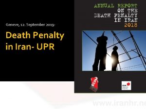 Geneve 12 September 2019 Death Penalty in Iran