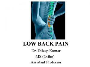 LOW BACK PAIN Dr Dileep Kumar MS Ortho
