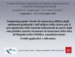 Incontro formativo organizzato dallAgenzia Regionale per la Protezione
