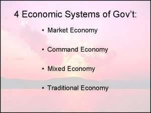 4 Economic Systems of Govt Market Economy Command