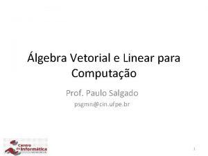 lgebra Vetorial e Linear para Computao Prof Paulo