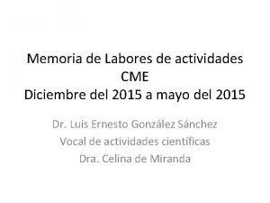 Memoria de Labores de actividades CME Diciembre del