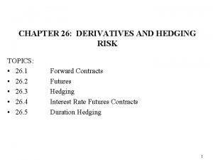 CHAPTER 26 DERIVATIVES AND HEDGING RISK TOPICS 26
