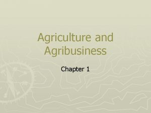 Agriculture and Agribusiness Chapter 1 What is Agribusiness