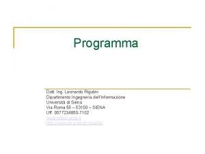 Programma Dott Ing Leonardo Rigutini Dipartimento Ingegneria dellInformazione