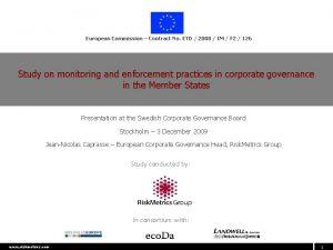 European Commission Contract No ETD 2008 IM F