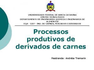 UNIVERSIDADE FEDERAL DE SANTA CATARINA CENTRO TECNOLGICO DEPARTAMENTO