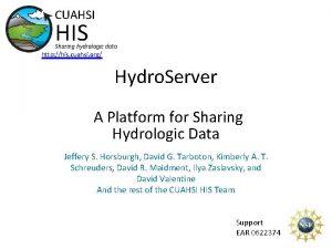 CUAHSI HIS Sharing hydrologic data http his cuahsi