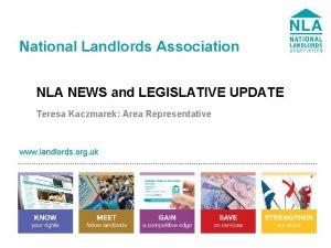National Landlords Association NLA NEWS and LEGISLATIVE UPDATE
