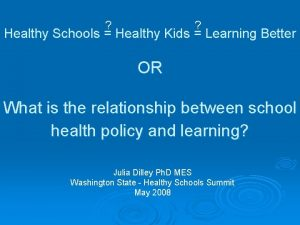 Healthy Schools Healthy Kids Learning Better OR What