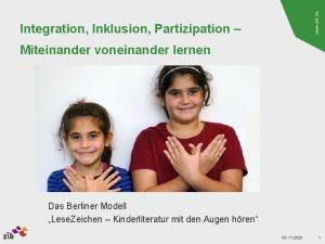 www zlb de Integration Inklusion Partizipation Miteinander voneinander
