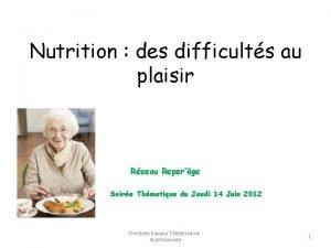 Nutrition des difficults au plaisir Rseau Reperge Soire