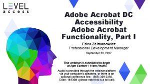 Adobe Acrobat DC Accessibility Adobe Acrobat Functionality Part