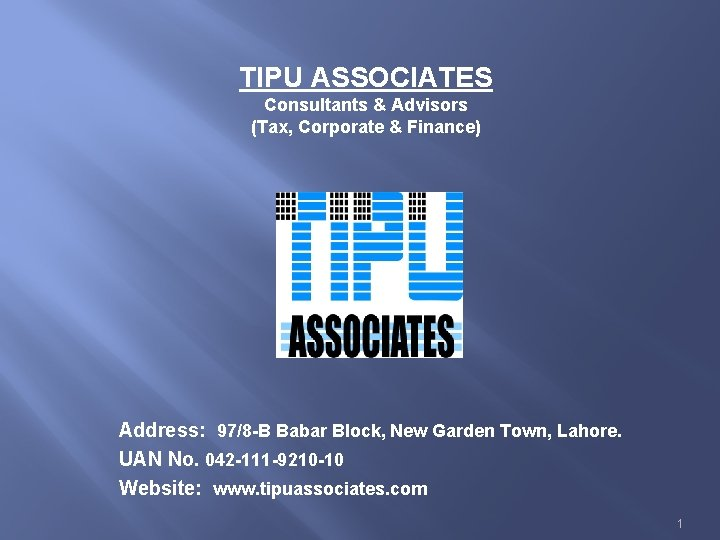TIPU ASSOCIATES Consultants Advisors Tax Corporate Finance Address