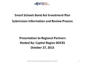 Smart Schools Bond Act Investment Plan Submission Information