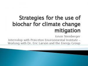 Strategies for the use of biochar for climate