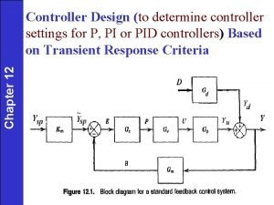 Chapter 12 Controller Design to determine controller settings