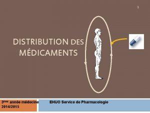 1 DISTRIBUTION DES MDICAMENTS 3me anne mdecine 20142015