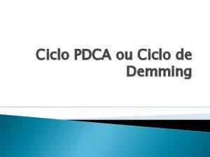 Ciclo PDCA ou Ciclo de Demming Histria por