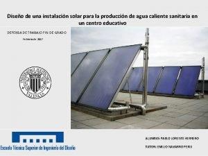Diseo de una instalacin solar para la produccin