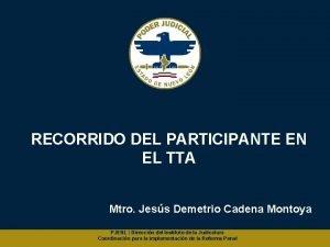 RECORRIDO DEL PARTICIPANTE EN EL TTA Mtro Jess