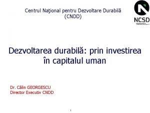 Centrul Naional pentru Dezvoltare Durabil CNDD Dezvoltarea durabil