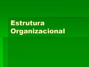 Estrutura Organizacional Estrutura Organizacional A organizao da empresa