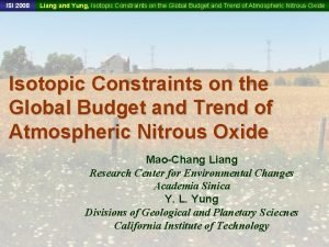 ISI 2008 Liang and Yung Isotopic Constraints on