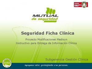 Seguridad Ficha Clnica Proyecto Modificaciones Medisyn Instructivo para