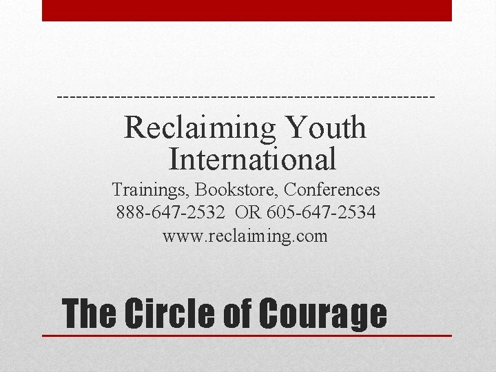 Reclaiming Youth International Trainings Bookstore Conferences 888 647