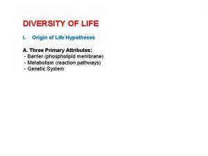 DIVERSITY OF LIFE I Origin of Life Hypotheses