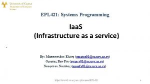 EPL 421 Systems Programming Iaa S Infrastructure as