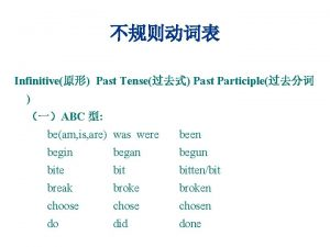 Infinitive Past Tense Past Participle ABC beam is