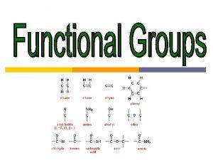 Functional Groups Functional groups special groups of atoms