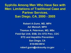 Syphilis Among Men Who Have Sex with Men