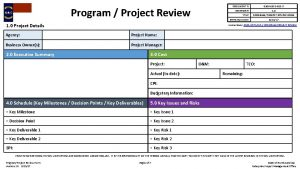 DOCUMENT Program Project Review REVISION TITLE Business Owners
