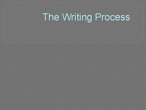 The Writing Process Outline Strong academic writing has