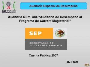 Auditora Especial de Desempeo Auditora Nm 484 Auditora
