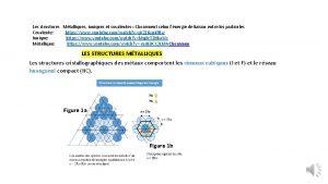 Les structures Mtalliques ioniques et covalentes Classement selon