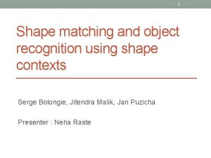 1 Shape matching and object recognition using shape