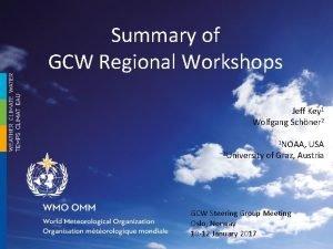 Summary of GCW Regional Workshops Jeff Key 1